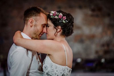 Wedding emotions bride and groom dance